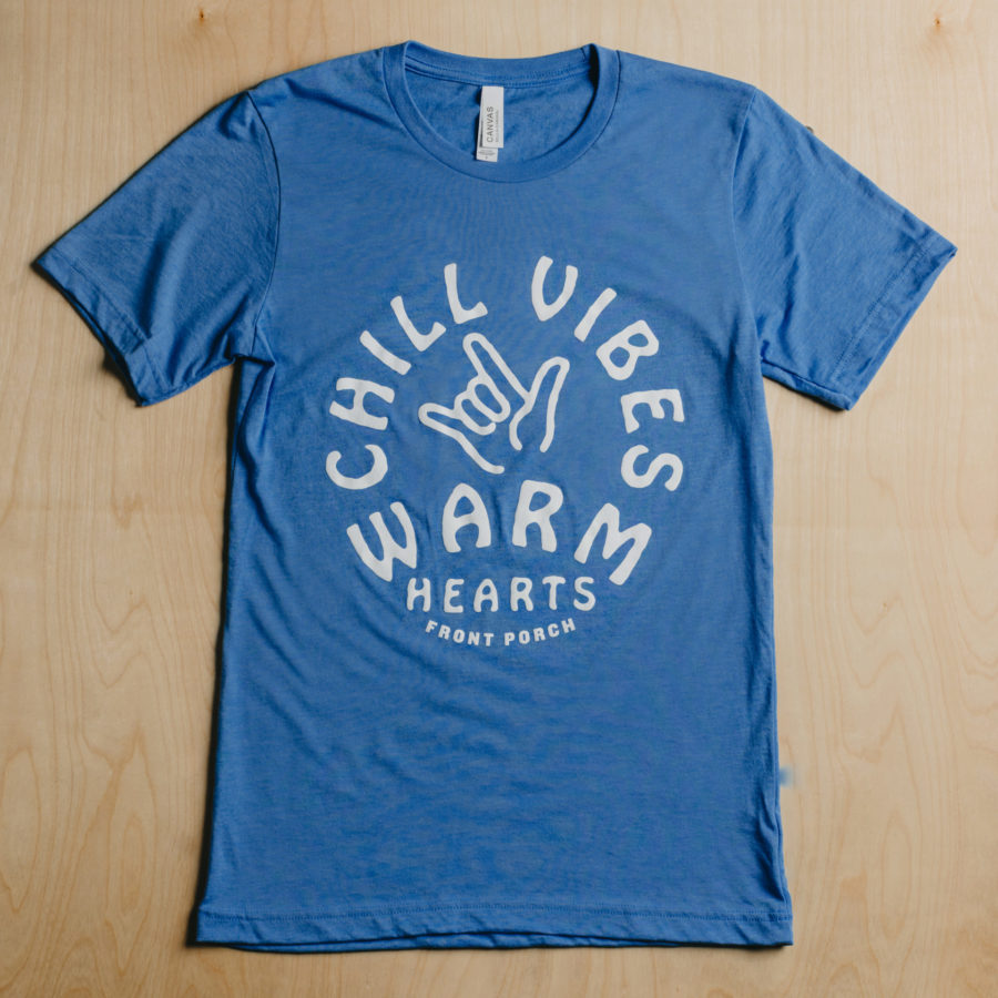 Front-Porch-Coffee-Blue-Chill-Vibes-Warm-Hearts-Graphic-Tee